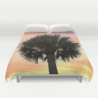 Palm and Sunset Duvet Cover by Legends Of Darkness Photography