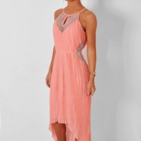 Grapefruit Pink Lace Detail Midi Dress | Pink Boutique