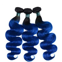 Sexay Ombre Peruvian Body Wave 4 Bundles Deal Pack Pre-Colored Human Hair Weaving Dark Roots T1B/Blue Ombre Peruvian Human Hair