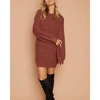 Final Sale - MINKPINK - One Sided Jumper Dress - Mulberry
