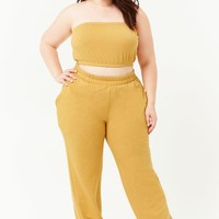 Plus Size Marled Fleece-Knit Cropped Tube Top & Joggers Set