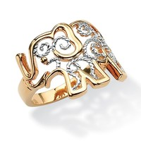 Palm Beach Jewelry Filigree Brass Elephant Ring