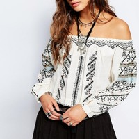 Free People All I Need Embroidered Top