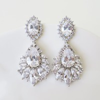 Cubic Zirconia Bridal Earrings with Marquise drop perfect cut crystals