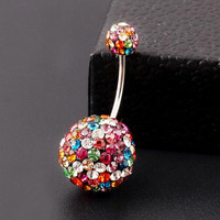 Colorful Crystal Ball Belly Button Ring - Stainless Steel for Pierced Naval