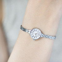 Mint condition women's watch bracelet Seagull, cocktail watch for woman petite, vintage watch jewelry, feminine watch round silver shade