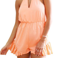 Peach Romper With Cut Out Details