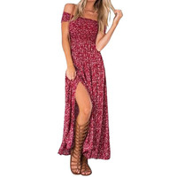 Summer Women's Vintage Dress Floral Print Off Shoulder Split Tube Long Party Maxi Dress Beach Dresses