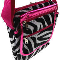 Urban Lite Gadget Messenger Bag Zebra Pink Crossbody Shoulder Fashion Purse