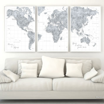 """Custom quote - highly detailed world map printable with cities, set of 3 split panels in 24x36"""" each. Grayscale watercolor. Jimmy"""
