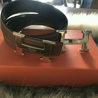 Men's Hermes Brown Leather Belt With Silver H Buckle 105cm