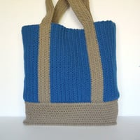 Blue and Tan Partially Lined Crochet Tote Bag