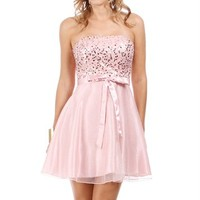 Pink Rose Sequin Homecoming Dress