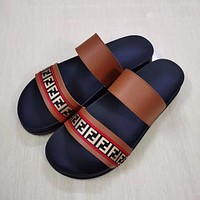 FENDI Slippers Men's Fashion Trend Outer Wear One-Fragment All-match Thick-soled Men's Two-Strap Sandals Beach Shoes