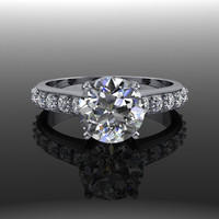 Forever Brilliant Moissanite and Diamond Solitaire Engagement Ring
