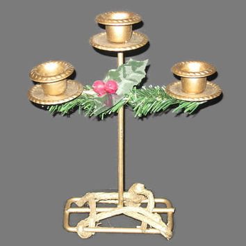 Vintage Candle Holder, Centerpiece, Christmas Holder, Gold Tone Holder, Triple Holder, Candle Holder, Table Decor, Rustic Decor, Country