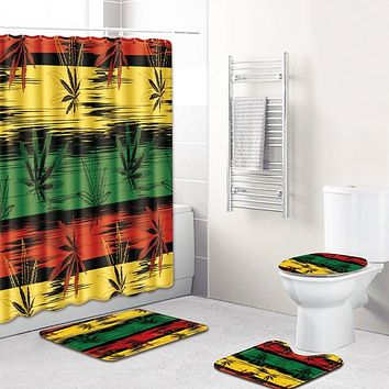 S 3D Printing Maple Leaf Bathroom Mats 180*180cm Shower Curtain 4pcs Bath Mat Sets Home Decoration