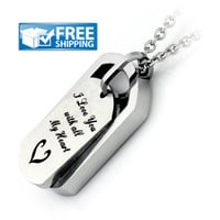 """Unisex Love Gift - Dog Tag Couples Necklace Engraved with """"I Love You with all My Heart"""", 18"""" Chains Included"""