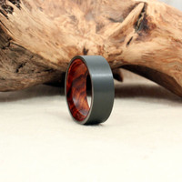 Black Zirconium Wood Ring Lined with Special Stock Cocobolo Rosewood Burl