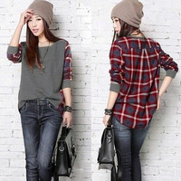Plus Size Fashion Womens Splicing Long Sleeve Batwing Plaid Blouse Tee Shirt Tops Casual(S-5XL Black Gray) = 1945727620