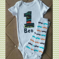 First Birthday Boy Mustache Onesuit - Personalized - Teal Orange Birthday - Cake Smash Outfit - Leg Warmers - Mustache tie Onesuit - Mustache