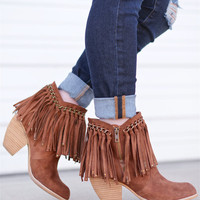 There She Goes Fringe Booties - Tan
