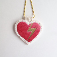 Embroidered heart necklace on bright cream muslin with gold lightning bolt and hot pink on a gold tone ball chain Valentines day gift