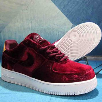 NIKE Air Force One Velvet Built-in Cushion Fashion Casual Shoes F-A36H-MY red