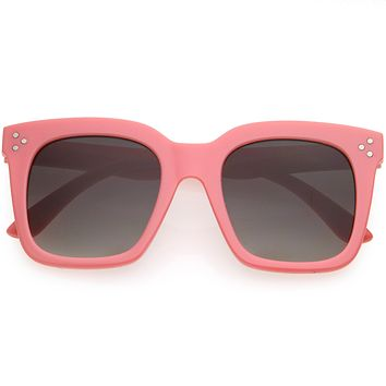 Kids Retro Oversized Square Sunglasses with Flat Lens for Children  D202