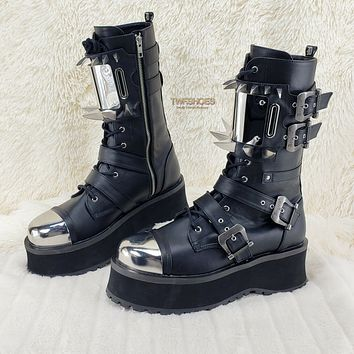 Grave Digger 250 Claw Spike Black Lace Up Zipper Boots Mid Calf Mens 5-13 NY