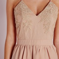 Missguided - Lace Top Chiffon Skater Dress Nude