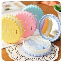 Cutie Gift Biscuit Contact Lens Case Candy color Cookie Cake Lenses Storage Box
