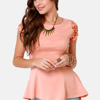 At Charm's Length Peach Lace Top