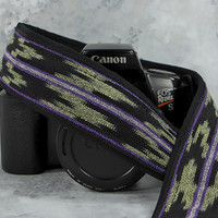 dSLR Camera Strap, Limepeel Green, Purple, Black, Mens or Womens, Ikat, Photographer gift, 216L w