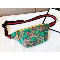 Gucci new fashion trend print pocket chest bag shoulder Messenger bag