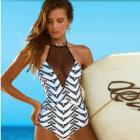 Mesh Net Sexy Floral Printed Women Two Piece Summer Swimsuit Bathing Suit Bandage Bikini Set _ 231