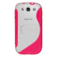 Amzer AMZ94168 Protective TPU Skin Case Cover with Kickstand for Samsung GALAXY S III GT-I9300/Samsung GALAXY S 3 I9300 - Retail Packaging - Pink