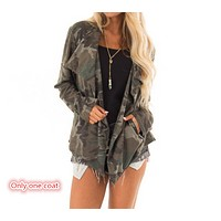 New long-sleeved camouflage autumn and winter women's cardigan coat