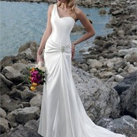 One-shoulder Fuid Silhouette Dropped Waist Satin Small Train Wedding Dress WD0032