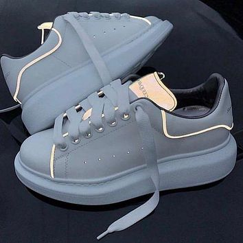 Alexander Mcqueen 19ss 3M Reflective Thick-soled Shoes Small White Shoes-1