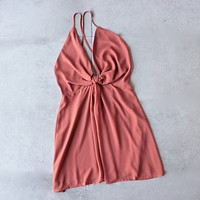 Leah knot chiffon dress - sienna orange