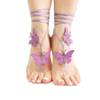 Lilac Purple Butterfly Barefoot Sandal, 12 Color Options, Violet jewelry, Spring Celebrations, Yoga Belly Dance Beach wedding, Foot Thongs