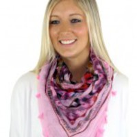 Pink Scarf With Tassels - C62