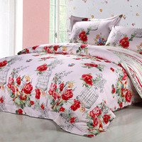 Duvet Cover Set - Dolce Mela Bedding with Exclusive Design 4pc Cotton Bedding Set - Queen Duvet Cover with sheet and 2pc pillow covers