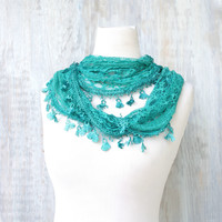 Lace Feather Scarf -Teal