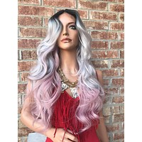 Gray Pink Ombré Human Hair Blend multi parting Full Wig - Bravery