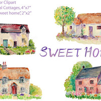Watercolor clipart - hand painted watercolour traditional cottages printable instant download