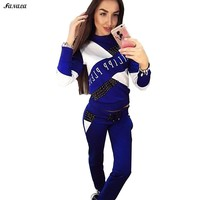 Tracksuit - O-Neck Long Sleeve Patchwork T-Shirt with Pants