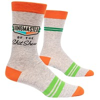 Ringmaster of the Shitshow Men's Crew Socks, Hipster/Nerdy/Geeky/Trendy, Funny Novelty Power Socks with Cool Design, Bold/Crazy/Unique Business Dress Socks