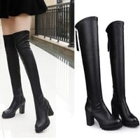 On Sale Hot Deal High Heel Stretch Skinny Knee-length Winter Stylish Boots [9138740679]